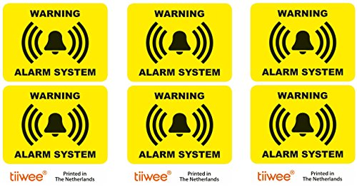 tiiwee Home Security Alarm Stickers - Yellow - 2 x UV coated - Laminated - size 70mm x 50mm - Outdoors - Set of 6 Labels