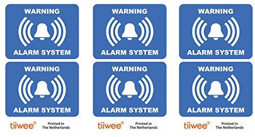 tiiwee Home Security Alarm Stickers - Blue - 2 x UV coated - Laminated - size 70mm x 50mm - Outdoors - Set of 6 Labels