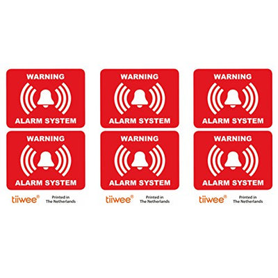 tiiwee Home Security Alarm Stickers - Red - 2 x UV coated - Laminated - size 70mm x 50mm - Outdoors - Set of 6 Labels