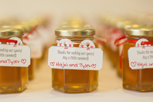 12 Honey Favours with Ribbon (3.75 oz)