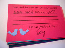 Bridal Shower Game - Custom Love Bird Advice Cards