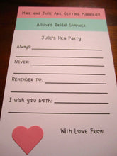 Bridal Shower Game - Custom  Advice Cards