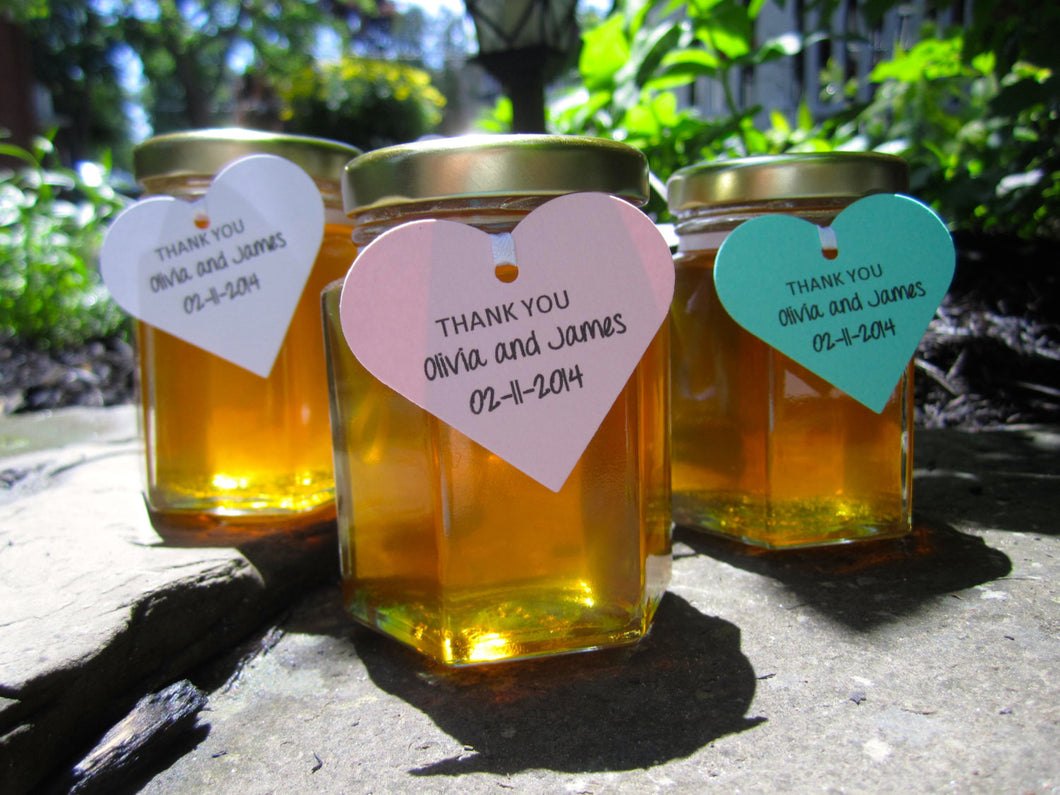 12 Honey Favours with Heart Tags (3.75 oz)