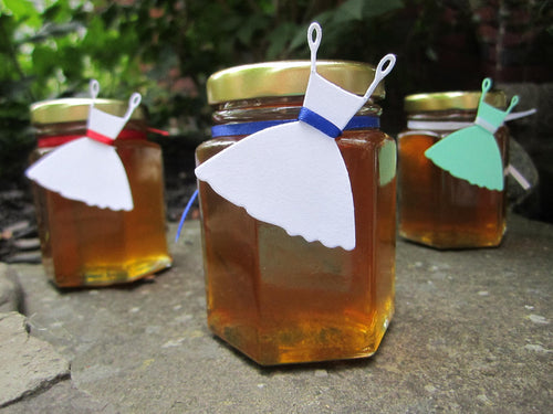 12 Honey Favours with Wedding Dress Tag (3.75 oz)