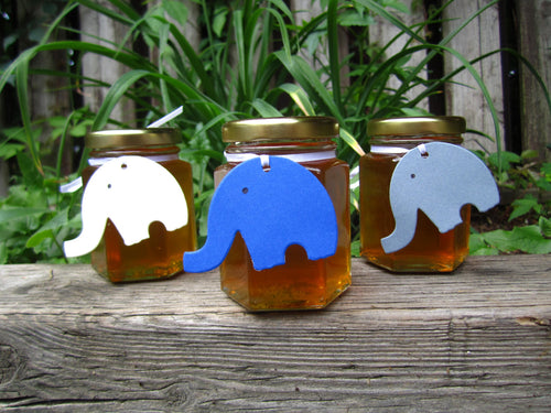 12 Honey Favours with Elephant Tag (3.75 oz)