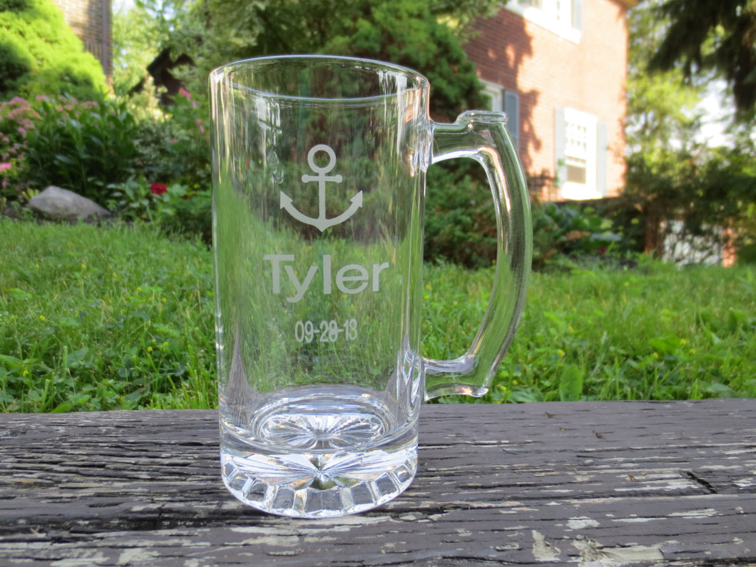 Nautical Wedding Themed Engraved Beer Mugs