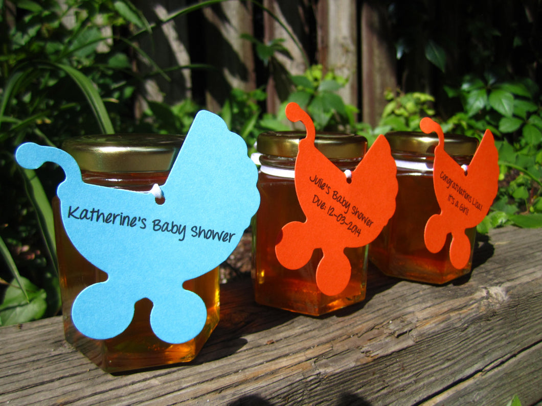 12 Honey Favours with Baby Carriage Tag (3.75 oz)