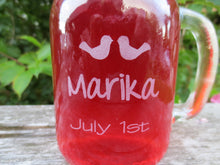 Love Bird Themed Engraved Mason Jar Mugs with Lids