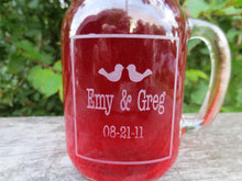 Love Bird Themed Engraved Mason Jar Mugs with Lids and Handle