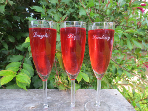 Personalized Champagne Glasses and Flute (Set of 2 glasses)