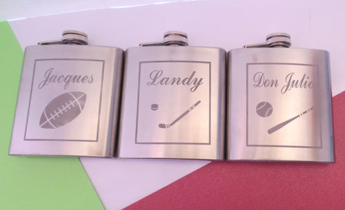 Sports Themed Personalized Flask