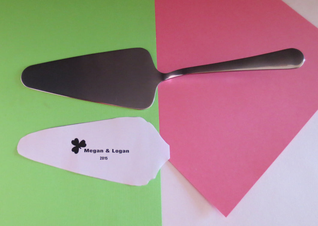 Lucky Clover Themed Engraved Wedding Cake Server