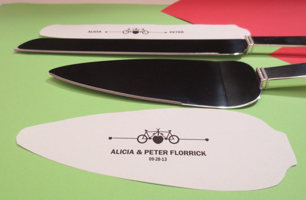 Bicycle Themed Engraved Wedding Cake Serving Set