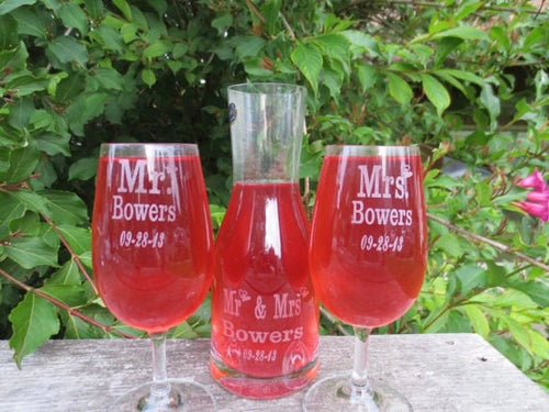 Personalized Wine Glasses with Matching Pitcher (Mr. and Mrs. Set of 2 Glasses)