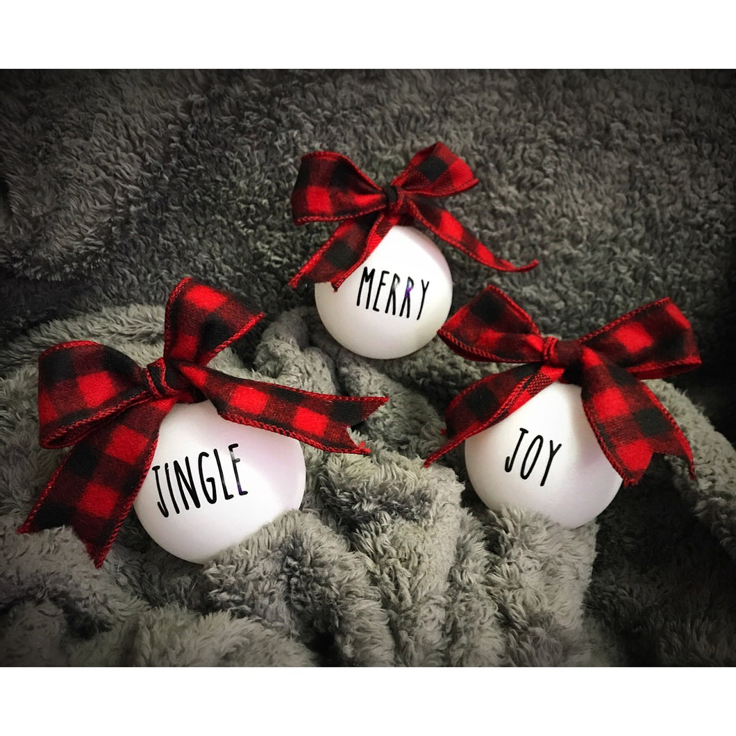 white and buffalo plaid christmas ornaments full set 12