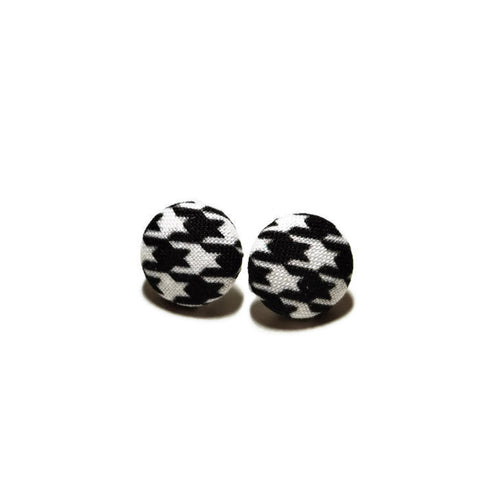 Black & White Houndstooth Nickel-Free Earrings