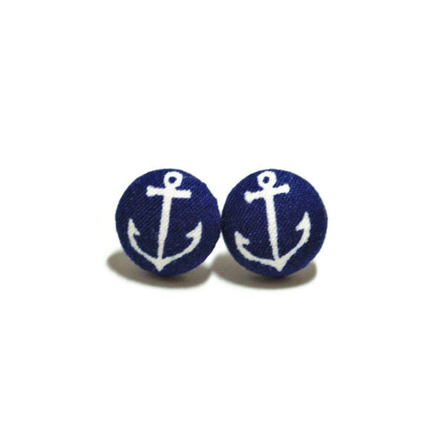 Navy Anchor Nickel-Free Earrings