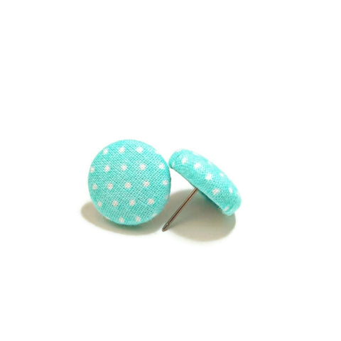 Aqua & White Polka Dotted Stud Earrings