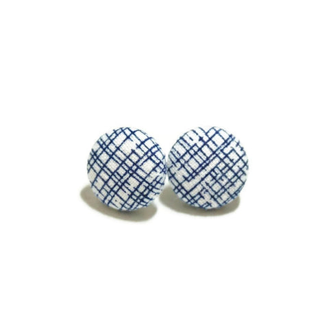 Navy & White Crosshatch Titanium Earrings