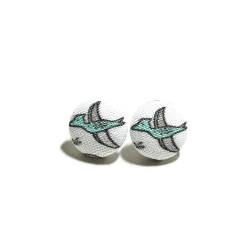 Blue & Gray Pterodactyl Dinosaur Nickel-Free Earrings