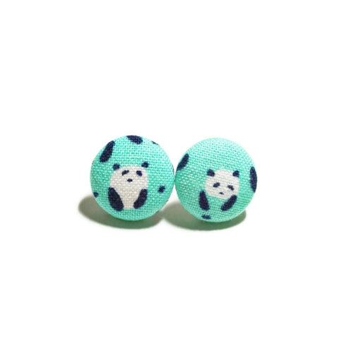 Green Black & White Pandas Nickel-Free Earrings