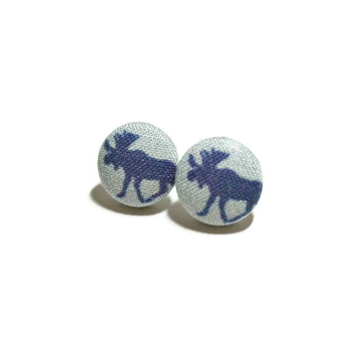 Navy Moose Stud Earrings