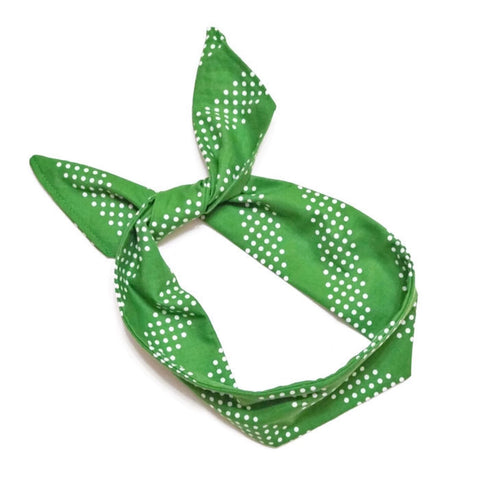 Green with White Dots Wire Headband