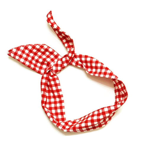 Red & White Check Plaid Wire Headband