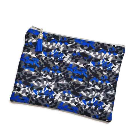 Blue Abstract Leaf Zipper Pouch
