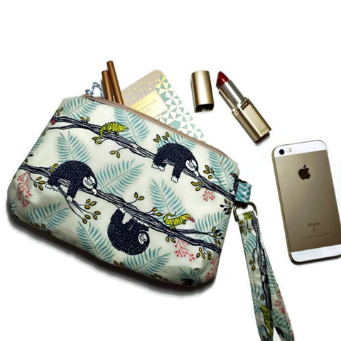 Blue Sloth Clutch Wristlet