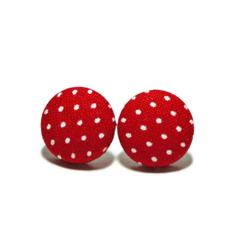 Red & White Polka Dots Stud Earrings