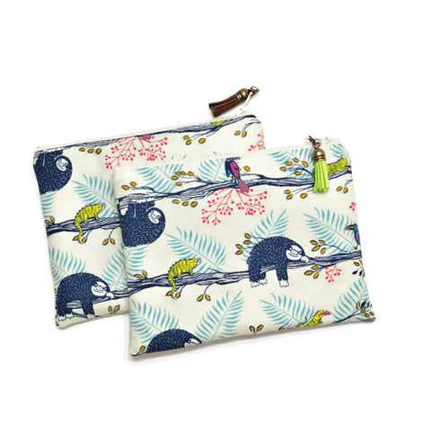 Blue Sloth Zipper Pouch