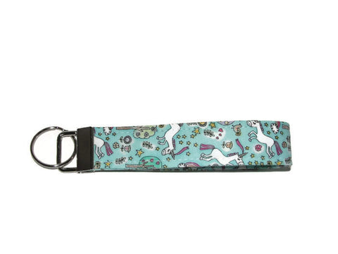 Unicorns & Rainbows Wristlet Key Fob