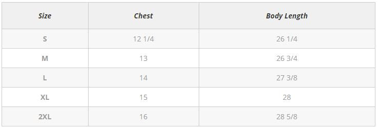 Ladies' Tank Top Size Chart