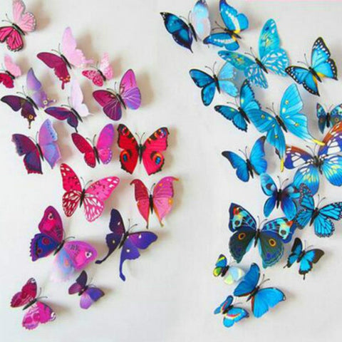 12pcs 3D Butterflies Adhesive Wall Stickers - 12pcs 3D