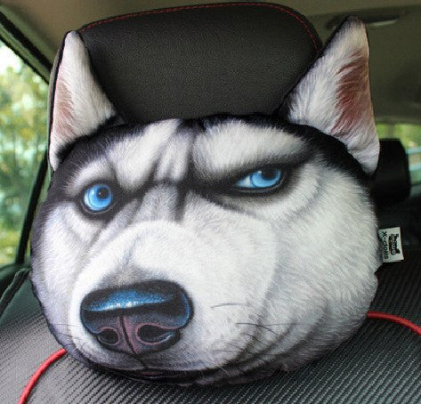 3D Pet Face Car Headrest Pillow - Amazing 3D Style Dog