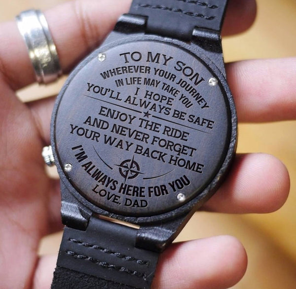 Wooden Watch Wood Watch Engraved Watch Dad To Son To My Son I Hope You'll Always Be Safe I'm Always Here For You Love Dad