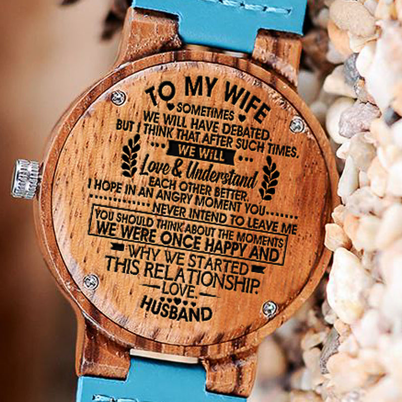 Wooden Watch Wood Engraved Sometimes Debated Will Love Understand Each Other Better Think About Moments Once Happy Why Started Relationship