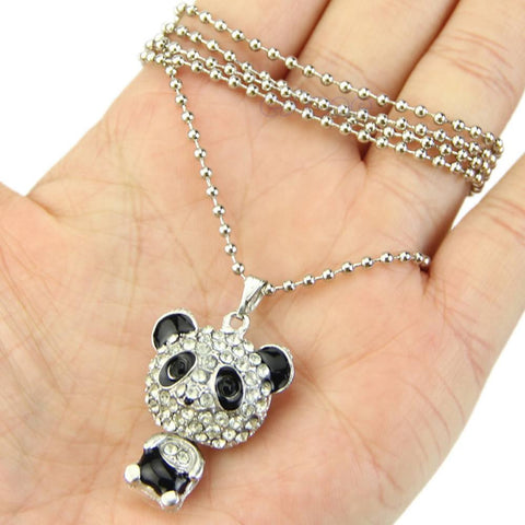 Cute Panda Rhinestone Crystal Pendant Necklace - Cute Panda