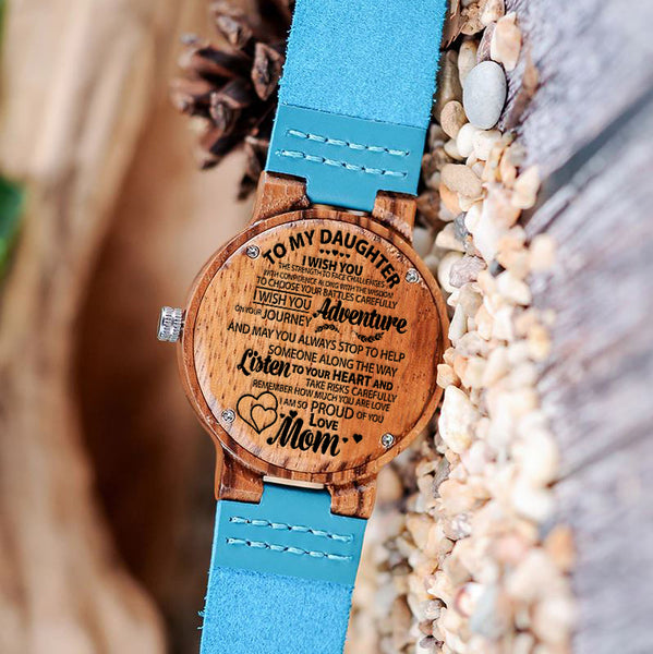 Wooden Watch Wood Engraved Strength Confidence Listen Your Heart Proud
