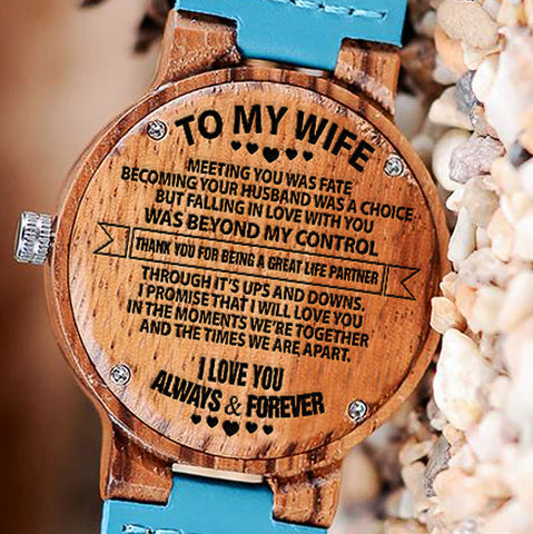 Wooden Watch Wood Watch Engraved Meeting You Was Fate Becoming Your Husband Was A Choice Falling In Love Beyond My Control Life Partner