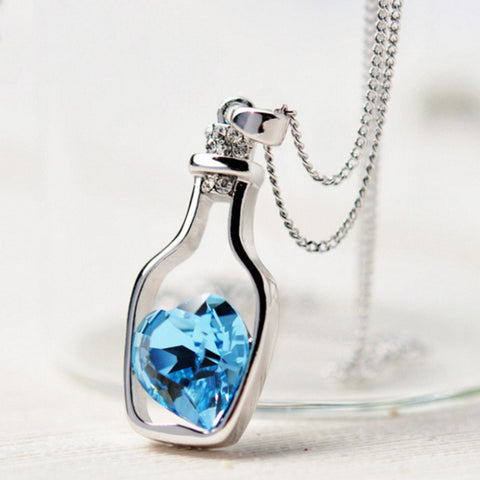 Love Drift Bottle Blue Heart Crystal Pendant Necklace - Love Drift Bottle Blue Heart