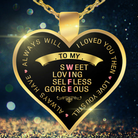 Necklace - To My Wife - Valentine Anniversary Birthday Gold Heart Necklace IX