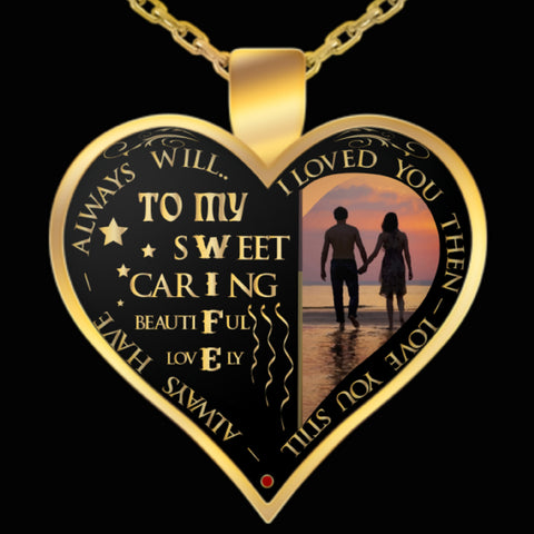 Necklace - To My Wife - Valentine Anniversary Birthday Gold Heart Necklace VI