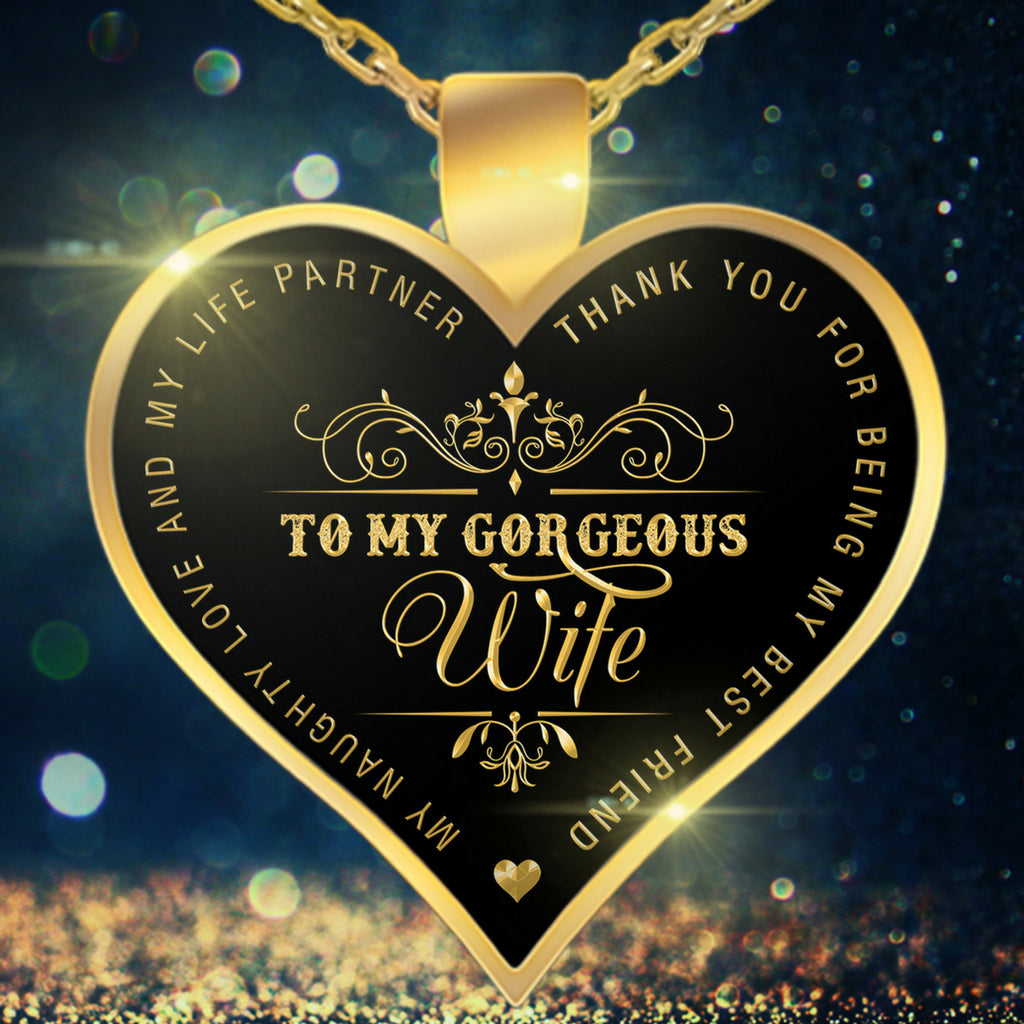 Necklace - To My Wife - Valentine Anniversary Birthday Gold Heart Necklace X
