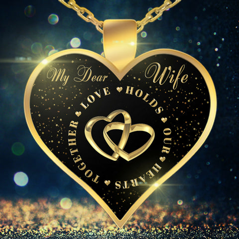 Necklace - To My Wife - Valentine Anniversary Birthday Gold Heart Necklace XIII