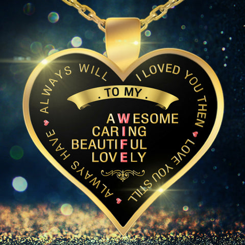 Necklace - To My Wife - Valentine Anniversary Birthday Gold Heart Necklace XIV