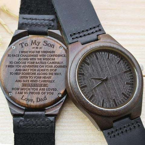 Wooden Watch - Dad To Son I Am So Proud Of You Engraved Wooden Watch