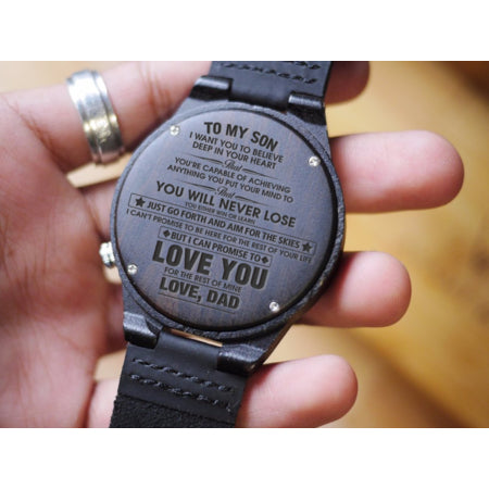 Wooden Watch - Dad To Son You Will Never Lose Engraved Wooden Watch