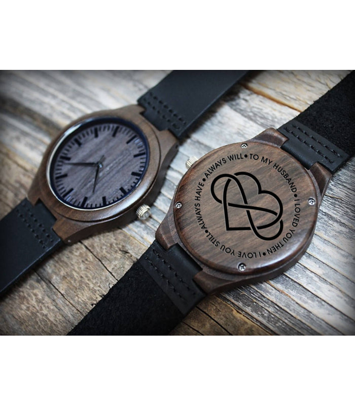 Wooden Watch - Dear Husband Love Wife Love You Always Engraved Wooden Watch